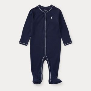 Ralph Lauren Navy Cotton Jersey Footed Coverall